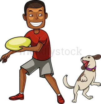 Black man playing catch with his dog. PNG - JPG and vector EPS file formats (infinitely scalable). Image isolated on transparent background.