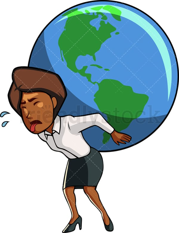 Black woman carrying the planet. PNG - JPG and vector EPS file formats (infinitely scalable). Image isolated on transparent background.