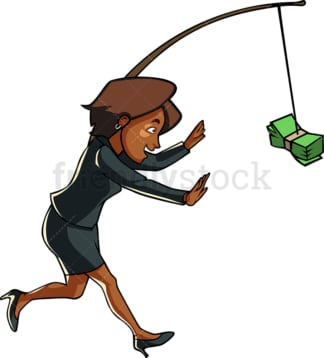 Black woman chasing cash on a stick. PNG - JPG and vector EPS file formats (infinitely scalable). Image isolated on transparent background.