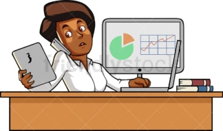 Black woman juggling multiple responsibilities. PNG - JPG and vector EPS file formats (infinitely scalable). Image isolated on transparent background.