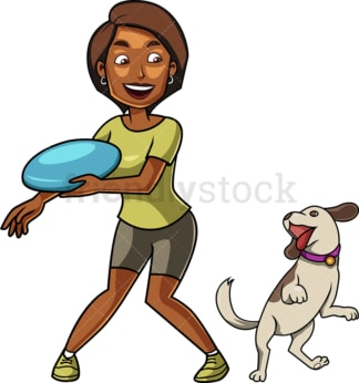 Black woman playing frisbee with dog. PNG - JPG and vector EPS file formats (infinitely scalable). Image isolated on transparent background.