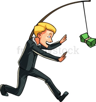 Businessman chasing money on stick. PNG - JPG and vector EPS file formats (infinitely scalable). Image isolated on transparent background.
