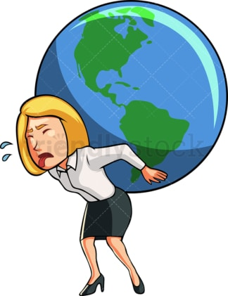 Businesswoman carrying the world. PNG - JPG and vector EPS file formats (infinitely scalable). Image isolated on transparent background.