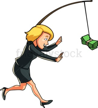 Businesswoman chasing cash on a stick. PNG - JPG and vector EPS file formats (infinitely scalable). Image isolated on transparent background.