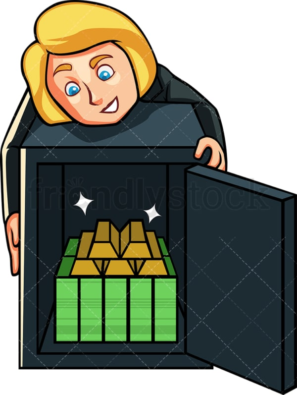Businesswoman with riches in her safe. PNG - JPG and vector EPS file formats (infinitely scalable). Image isolated on transparent background.