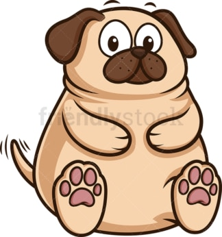 Chubby pug puppy. PNG - JPG and vector EPS (infinitely scalable).