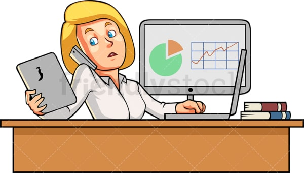Female employee multitasking at work. PNG - JPG and vector EPS file formats (infinitely scalable). Image isolated on transparent background.
