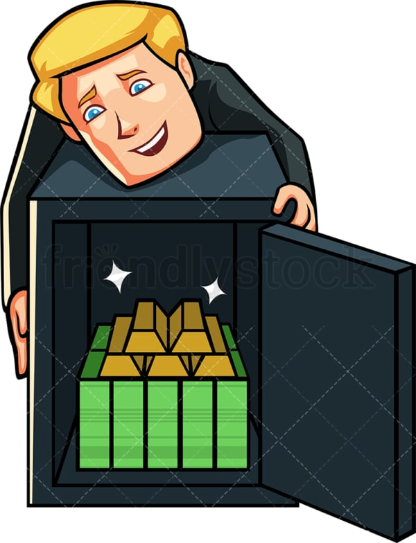 Greedy business man hugging safe. PNG - JPG and vector EPS file formats (infinitely scalable). Image isolated on transparent background.