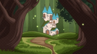 Magical fairy castle in the forest background in 16:9 aspect ratio. PNG - JPG and vector EPS file formats (infinitely scalable).