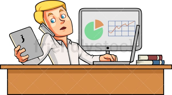 Male employee multitasking at work. PNG - JPG and vector EPS file formats (infinitely scalable). Image isolated on transparent background.