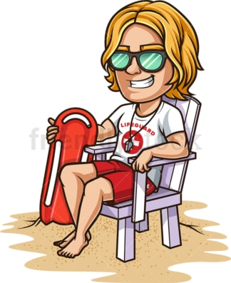 Male lifeguard at the beach. PNG - JPG and vector EPS (infinitely scalable). Image isolated on transparent background.