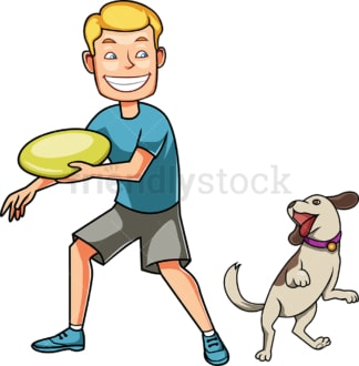 Man playing frisbee with his dog. PNG - JPG and vector EPS file formats (infinitely scalable). Image isolated on transparent background.