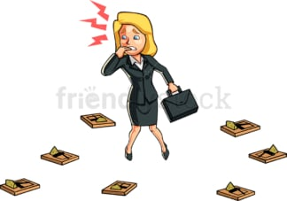 Mousetrapped business woman. PNG - JPG and vector EPS file formats (infinitely scalable). Image isolated on transparent background.