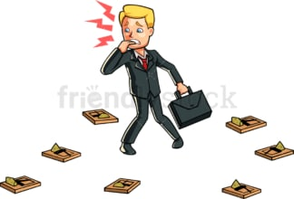 Panicking businessman surrounded by traps. PNG - JPG and vector EPS file formats (infinitely scalable). Image isolated on transparent background.