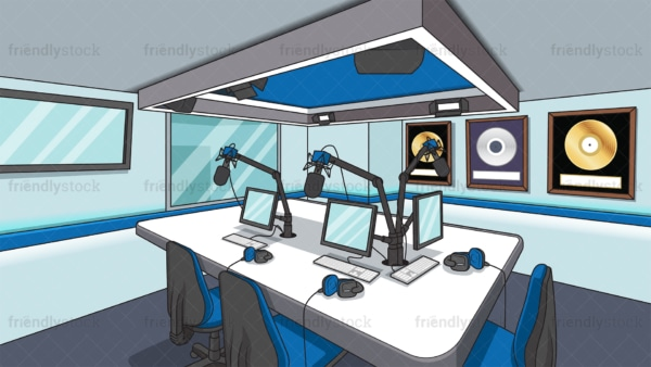 Radio station studio room background in 16:9 aspect ratio. PNG - JPG and vector EPS file formats (infinitely scalable).