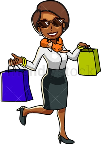 Rich black woman shopping. PNG - JPG and vector EPS file formats (infinitely scalable). Image isolated on transparent background.
