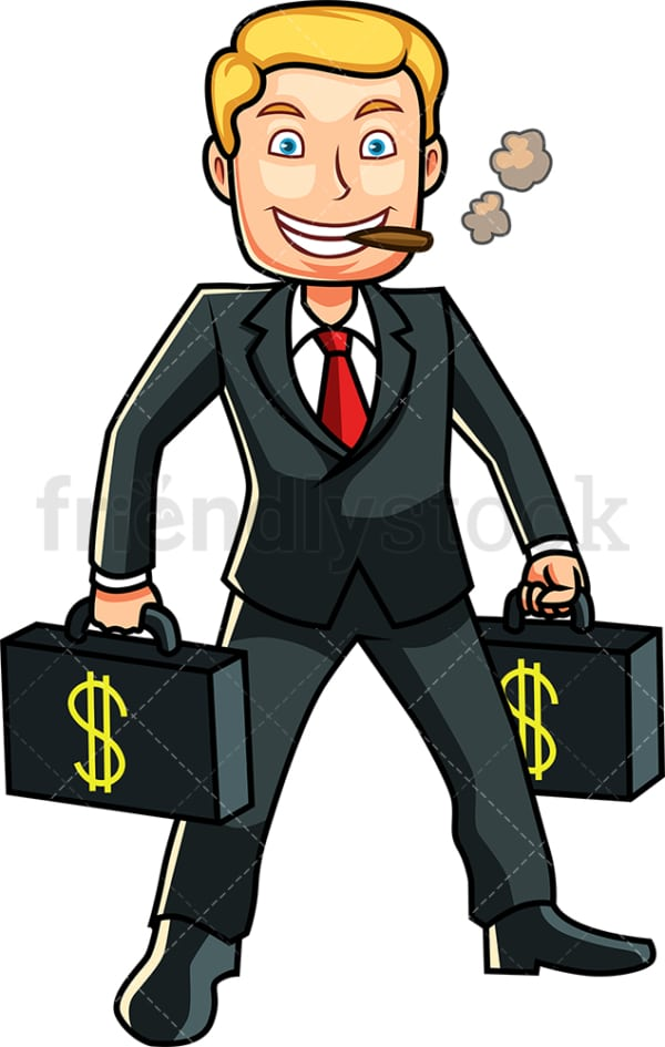 Rich man with briefcases of money. PNG - JPG and vector EPS file formats (infinitely scalable). Image isolated on transparent background.