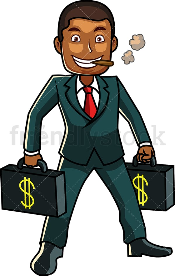 Wealthy black man with money briefcases. PNG - JPG and vector EPS file formats (infinitely scalable). Image isolated on transparent background.