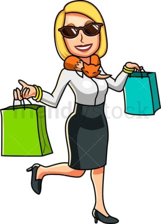 Wealthy woman with shopping bags. PNG - JPG and vector EPS file formats (infinitely scalable). Image isolated on transparent background.