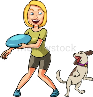 Woman playing frisbee with dog. PNG - JPG and vector EPS file formats (infinitely scalable). Image isolated on transparent background.