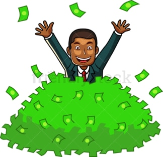 Black business man buried in money. PNG - JPG and vector EPS file formats (infinitely scalable). Image isolated on transparent background.