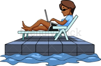 Black business woman working remotely. PNG - JPG and vector EPS file formats (infinitely scalable). Image isolated on transparent background.