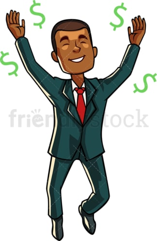 Black businessman dancing among dollars. PNG - JPG and vector EPS file formats (infinitely scalable). Image isolated on transparent background.