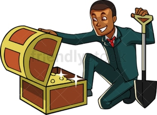 Black businessman with treasure chest. PNG - JPG and vector EPS file formats (infinitely scalable). Image isolated on transparent background.