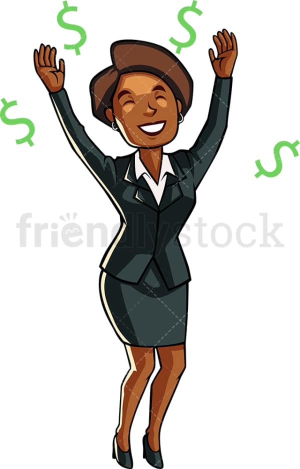 Black businesswoman among dollar signs. PNG - JPG and vector EPS file formats (infinitely scalable). Image isolated on transparent background.