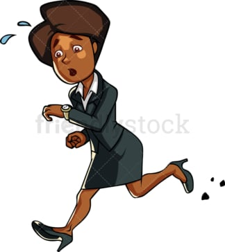Black businesswoman running late. PNG - JPG and vector EPS file formats (infinitely scalable). Image isolated on transparent background.