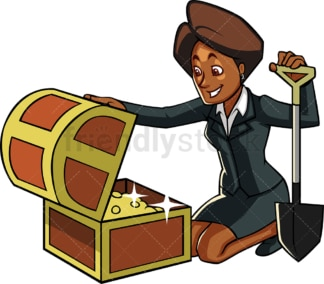 Black businesswoman with treasure chest. PNG - JPG and vector EPS file formats (infinitely scalable). Image isolated on transparent background.