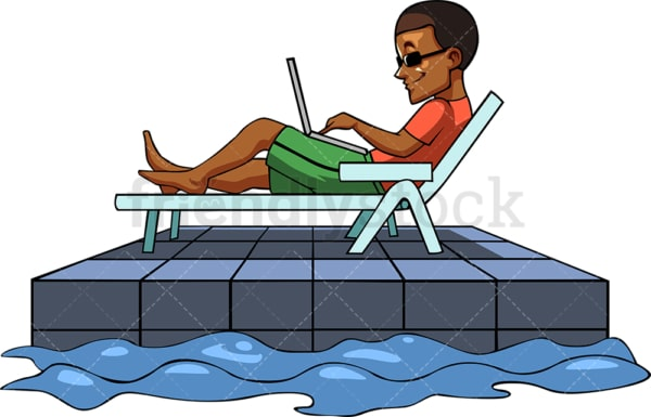 Black guy working with laptop at the pool. PNG - JPG and vector EPS file formats (infinitely scalable). Image isolated on transparent background.