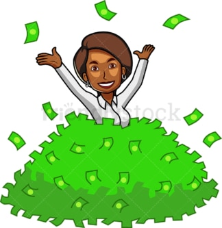 Black woman in pile of money. PNG - JPG and vector EPS file formats (infinitely scalable). Image isolated on transparent background.