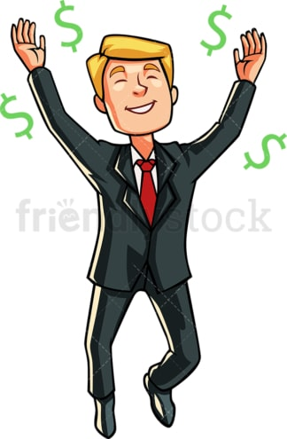 Business man adoring money. PNG - JPG and vector EPS file formats (infinitely scalable). Image isolated on transparent background.