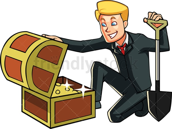 Businessman discovering treasure chest. PNG - JPG and vector EPS file formats (infinitely scalable). Image isolated on transparent background.