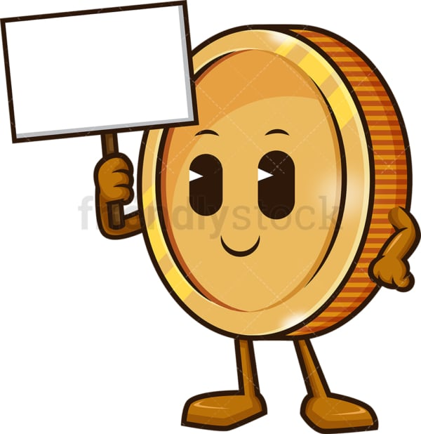 Coin holding blank sign. PNG - JPG and vector EPS (infinitely scalable).