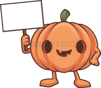 Jack o lantern holding blank sign. PNG - JPG and vector EPS (infinitely scalable).