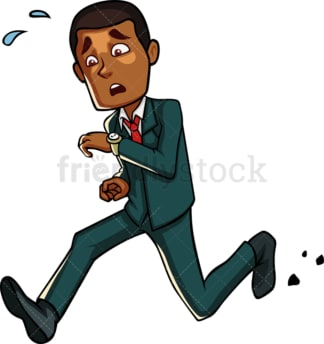 Late black businessman checking the time. PNG - JPG and vector EPS file formats (infinitely scalable). Image isolated on transparent background.