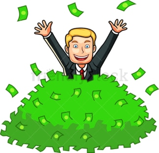 Man buried in pile of money. PNG - JPG and vector EPS file formats (infinitely scalable). Image isolated on transparent background.