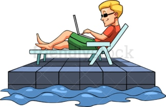 Man working while relaxing at pool. PNG - JPG and vector EPS file formats (infinitely scalable). Image isolated on transparent background.