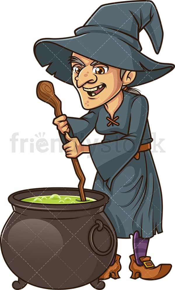 Old witch cooking in cauldron. PNG - JPG and vector EPS (infinitely scalable).