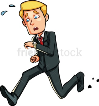 Stressed business man running late. PNG - JPG and vector EPS file formats (infinitely scalable). Image isolated on transparent background.