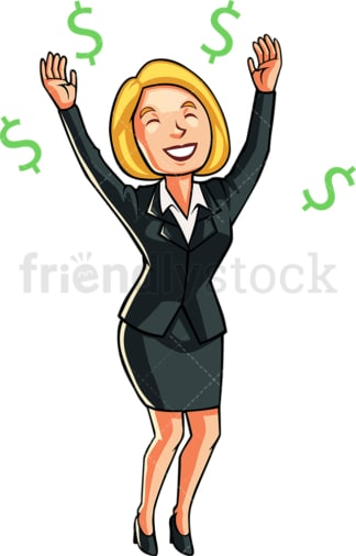 Successful businesswoman raising her arms. PNG - JPG and vector EPS file formats (infinitely scalable). Image isolated on transparent background.