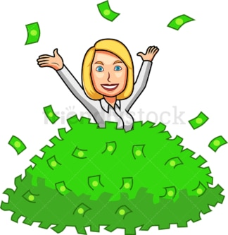 Woman behind huge pile of money. PNG - JPG and vector EPS file formats (infinitely scalable). Image isolated on transparent background.