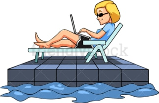 Woman working while at the pool. PNG - JPG and vector EPS file formats (infinitely scalable). Image isolated on transparent background.