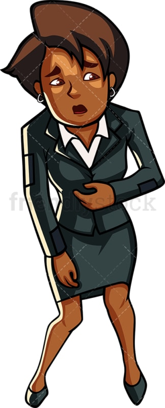 Bankrupt black businesswoman. PNG - JPG and vector EPS file formats (infinitely scalable). Image isolated on transparent background.