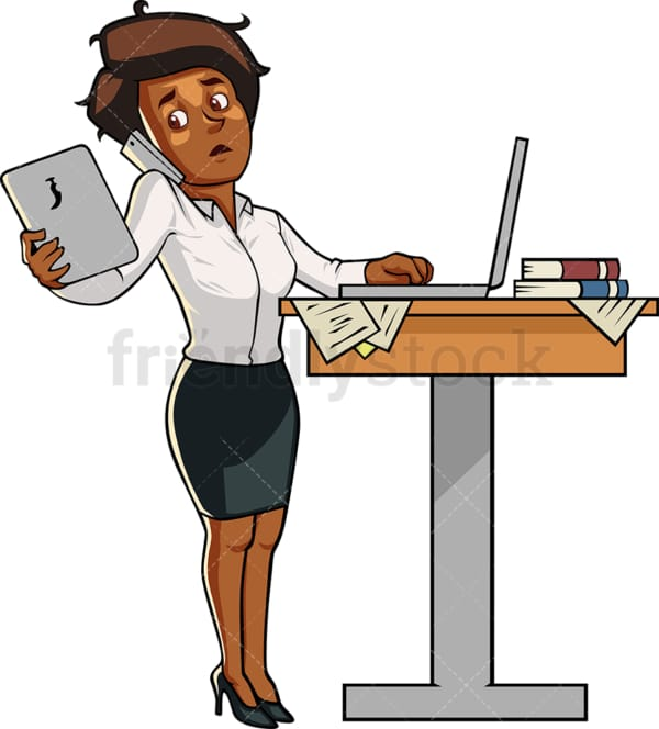 Black business woman multitasking. PNG - JPG and vector EPS file formats (infinitely scalable). Image isolated on transparent background.