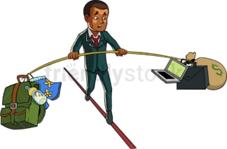 Black businessman balances work and home. PNG - JPG and vector EPS file formats (infinitely scalable). Image isolated on transparent background.