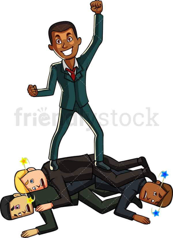 Black businessman beating competition. PNG - JPG and vector EPS file formats (infinitely scalable). Image isolated on transparent background.