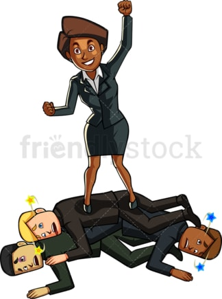 Black businesswoman beating competition. PNG - JPG and vector EPS file formats (infinitely scalable). Image isolated on transparent background.